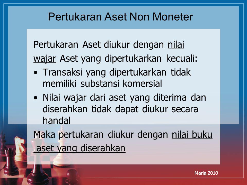 Maria 2010 Pertukaran Aset Non Moneter Pertukaran Aset diukur dengan nilai wajar Aset yang dipertukarkan kecuali: Transaksi yang dipertukarkan tidak m