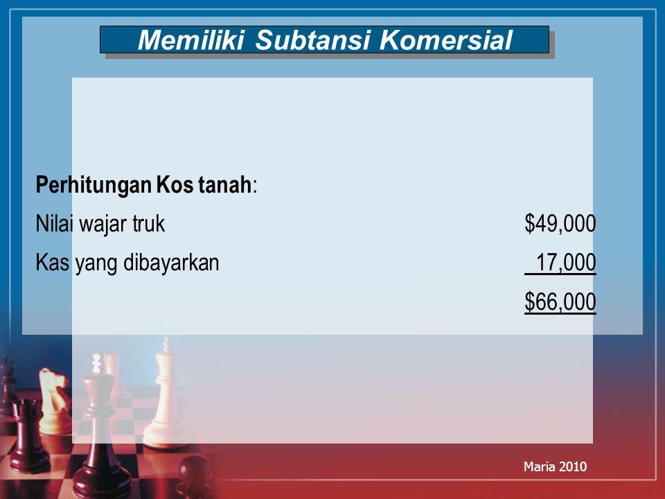 Maria 2010 Memiliki Subtansi Komersial Perhitungan Kos tanah : Nilai wajar truk$49,000 Kas yang dibayarkan 17,000 $66,000