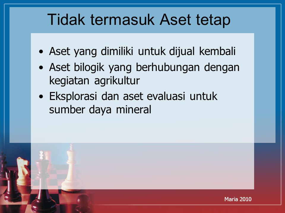Maria 2010 Tidak termasuk Aset tetap Aset yang dimiliki untuk dijual kembali Aset bilogik yang berhubungan dengan kegiatan agrikultur Eksplorasi dan a