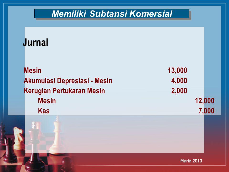 Maria 2010 Memiliki Subtansi Komersial Mesin13,000 Akumulasi Depresiasi - Mesin4,000 Kerugian Pertukaran Mesin2,000 Mesin12,000 Kas7,000 Jurnal
