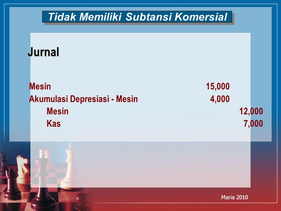 Maria 2010 Tidak Memiliki Subtansi Komersial Mesin15,000 Akumulasi Depresiasi - Mesin4,000 Mesin12,000 Kas7,000 Jurnal
