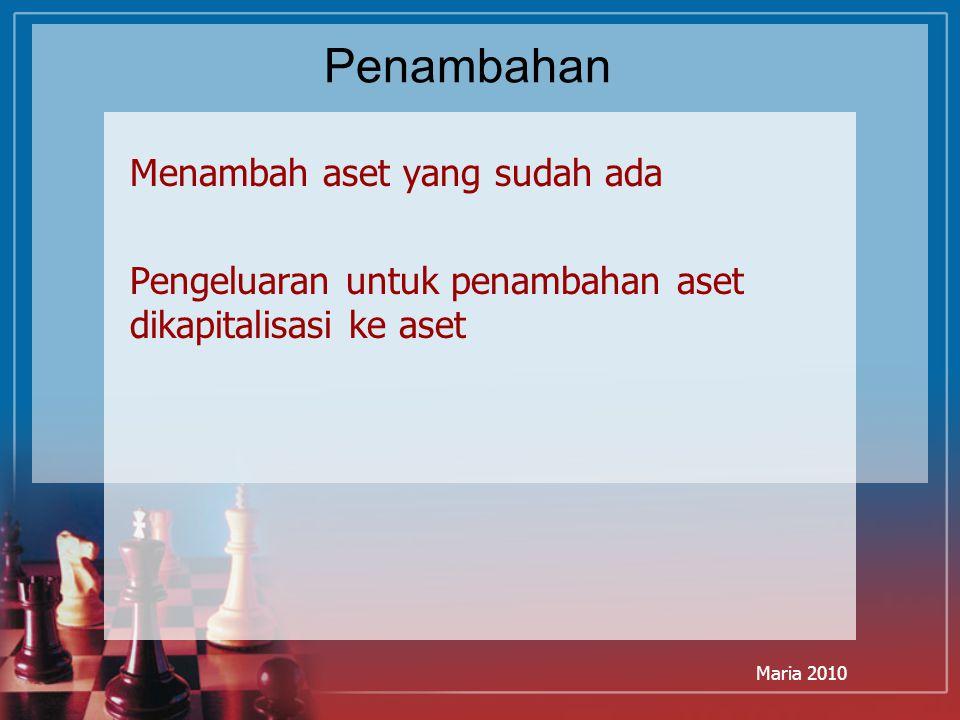Maria 2010 Penambahan Menambah aset yang sudah ada Pengeluaran untuk penambahan aset dikapitalisasi ke aset
