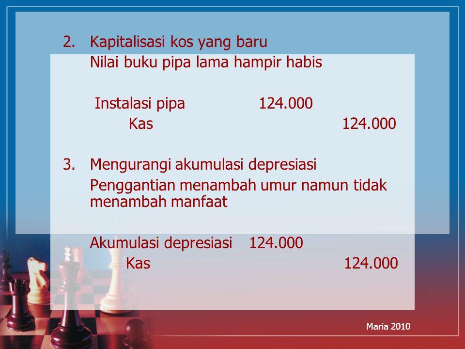 Maria 2010 2.Kapitalisasi kos yang baru Nilai buku pipa lama hampir habis Instalasi pipa 124.000 Kas 124.000 3.Mengurangi akumulasi depresiasi Penggan