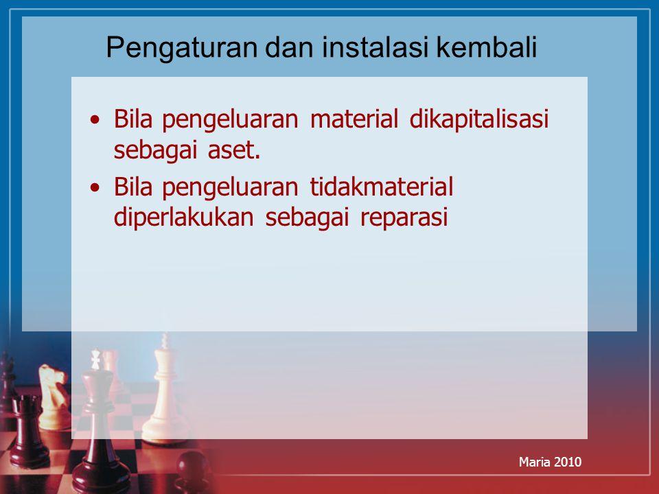 Maria 2010 Pengaturan dan instalasi kembali Bila pengeluaran material dikapitalisasi sebagai aset. Bila pengeluaran tidakmaterial diperlakukan sebagai
