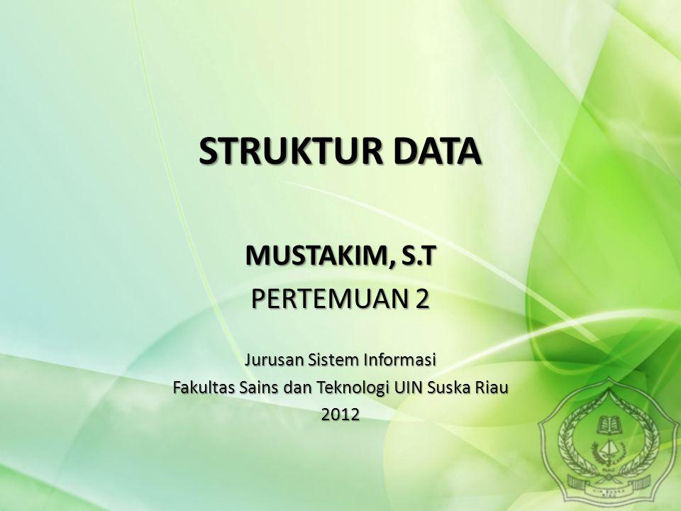 Halaman12 Pemakaian struktur data yang tepat di dalam proses pemrograman akan menghasilkan algoritma yang lebih jelas dan tepat, sehingga menjadikan program secara keseluruhan lebih efisien dan sederhana.