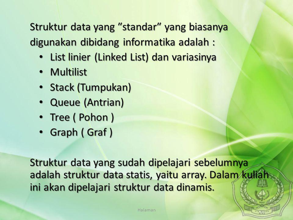 Halaman13 Struktur data yang ″standar″ yang biasanya digunakan dibidang informatika adalah : List linier (Linked List) dan variasinya List linier (Lin