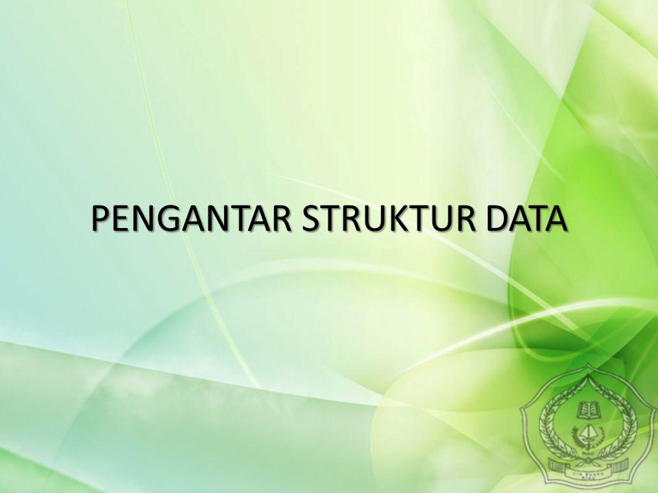 Halaman3 PENGERTIAN STRUKTUR DATA Struktur  susunan, bentuk, pola atau bangunan Struktur data adalah cara menyimpan atau merepresentasikan data di dalam komputer agar bisa dipakai secara efisien Sedangkan data adalah representasi dari fakta dunia nyata.