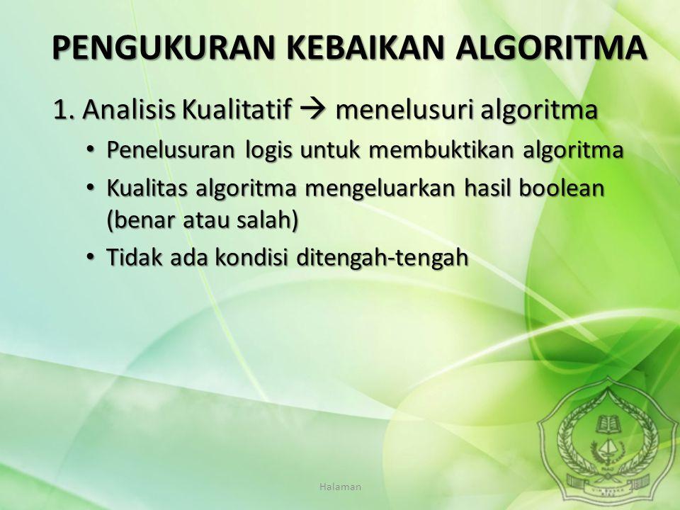 Halaman23 1. Analisis Kualitatif  menelusuri algoritma Penelusuran logis untuk membuktikan algoritma Penelusuran logis untuk membuktikan algoritma Ku