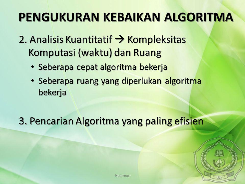 Halaman24 2. Analisis Kuantitatif  Kompleksitas Komputasi (waktu) dan Ruang Seberapa cepat algoritma bekerja Seberapa cepat algoritma bekerja Seberap