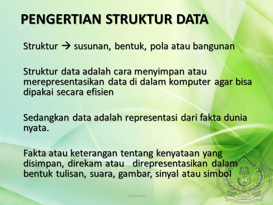 Halaman3 PENGERTIAN STRUKTUR DATA Struktur  susunan, bentuk, pola atau bangunan Struktur data adalah cara menyimpan atau merepresentasikan data di da
