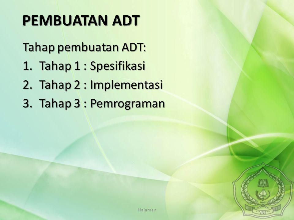 Halaman31 Tahap pembuatan ADT: 1.Tahap 1 : Spesifikasi 2.Tahap 2 : Implementasi 3.Tahap 3 : Pemrograman PEMBUATAN ADT