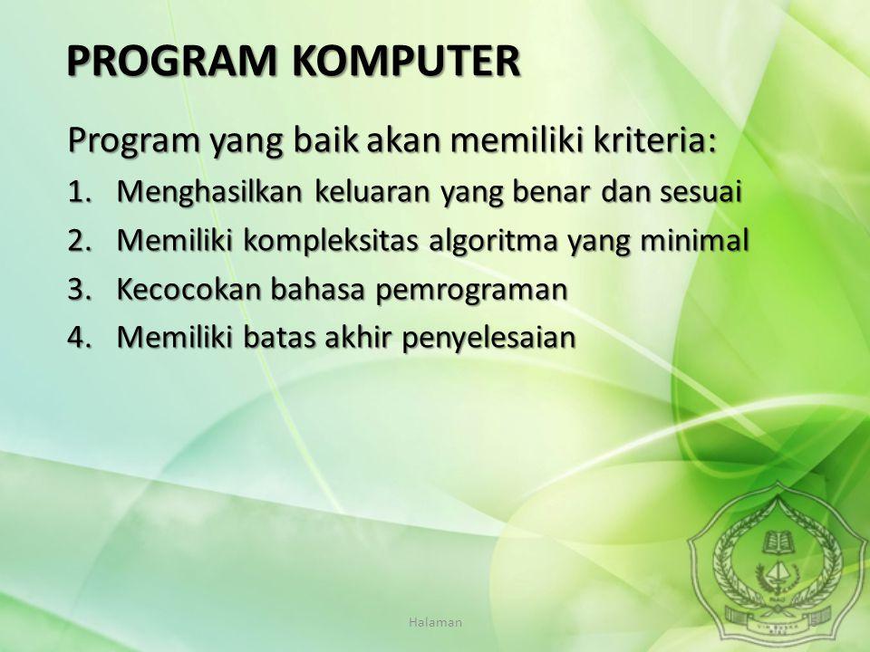 Halaman5 Program yang baik akan memiliki kriteria: 1.Menghasilkan keluaran yang benar dan sesuai 2.Memiliki kompleksitas algoritma yang minimal 3.Keco