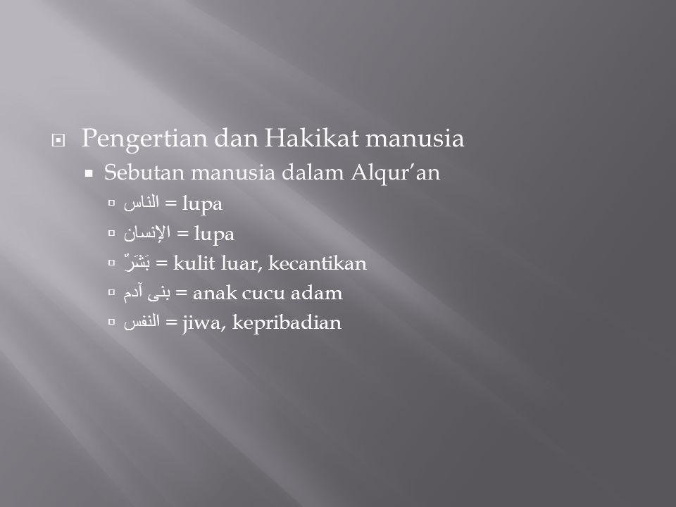  Pengertian dan Hakikat manusia  Sebutan manusia dalam Alqur'an  الناس = lupa  الإنسان = lupa  بَشَرٌ = kulit luar, kecantikan  بنى آدم = anak c