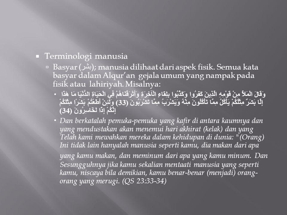  Terminologi manusia  Basyar ( بشر ); manusia dilihaat dari aspek fisik. Semua kata basyar dalam Alqur'an gejala umum yang nampak pada fisik atau la