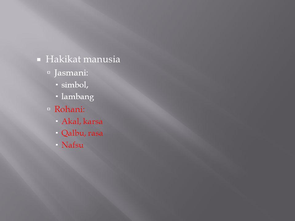 Hakikat manusia  Jasmani:  simbol,  lambang  Rohani:  Akal, karsa  Qalbu, rasa  Nafsu