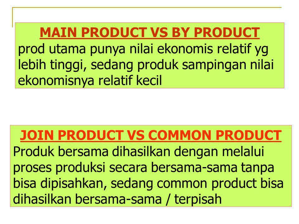 MAIN PRODUCT VS BY PRODUCT prod utama punya nilai ekonomis relatif yg lebih tinggi, sedang produk sampingan nilai ekonomisnya relatif kecil JOIN PRODU