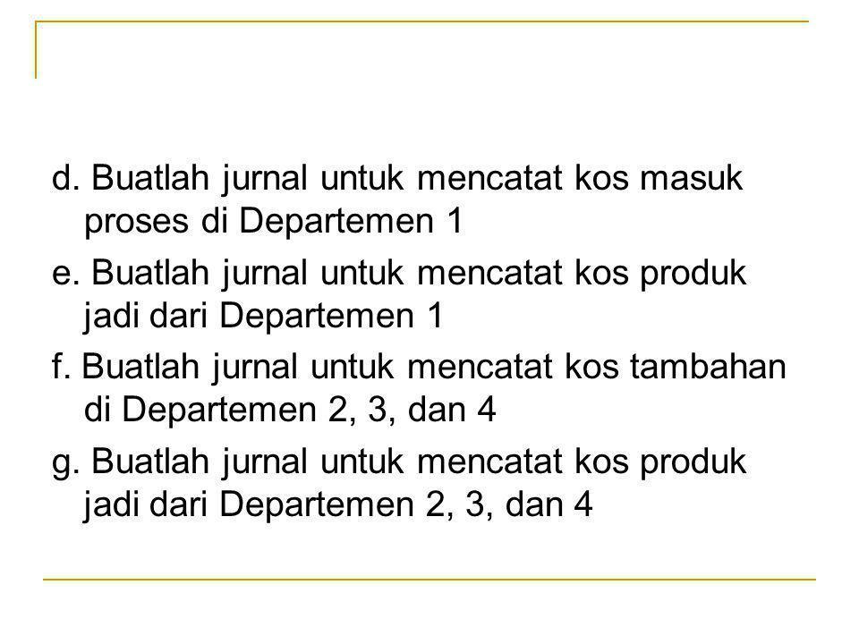d. Buatlah jurnal untuk mencatat kos masuk proses di Departemen 1 e. Buatlah jurnal untuk mencatat kos produk jadi dari Departemen 1 f. Buatlah jurnal