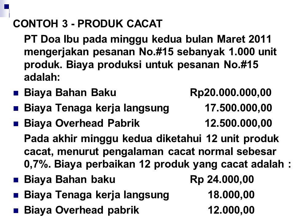 CONTOH 3 - PRODUK CACAT PT Doa Ibu pada minggu kedua bulan Maret 2011 mengerjakan pesanan No.#15 sebanyak 1.000 unit produk. Biaya produksi untuk pesa