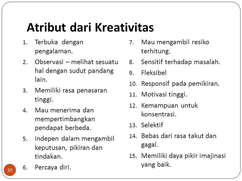Atribut dari Kreativitas 10 1.Terbuka dengan pengalaman.
