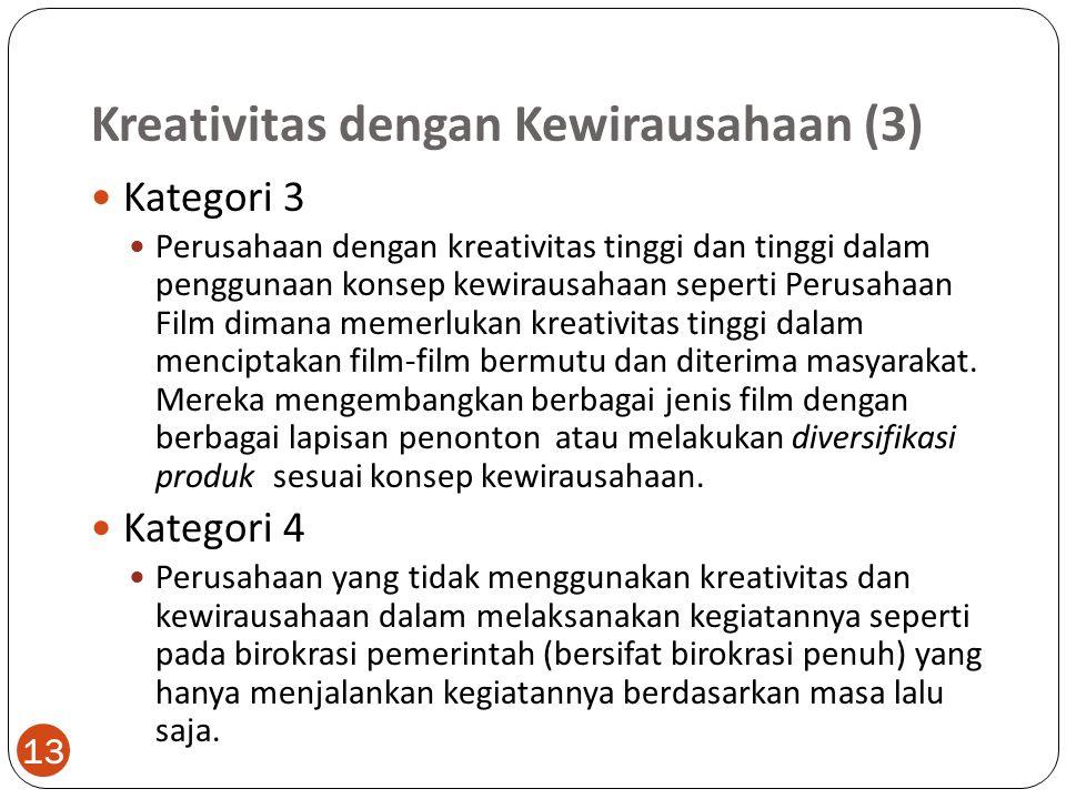 Kreativitas dengan Kewirausahaan (3) 13 Kategori 3 Perusahaan dengan kreativitas tinggi dan tinggi dalam penggunaan konsep kewirausahaan seperti Perusahaan Film dimana memerlukan kreativitas tinggi dalam menciptakan film-film bermutu dan diterima masyarakat.