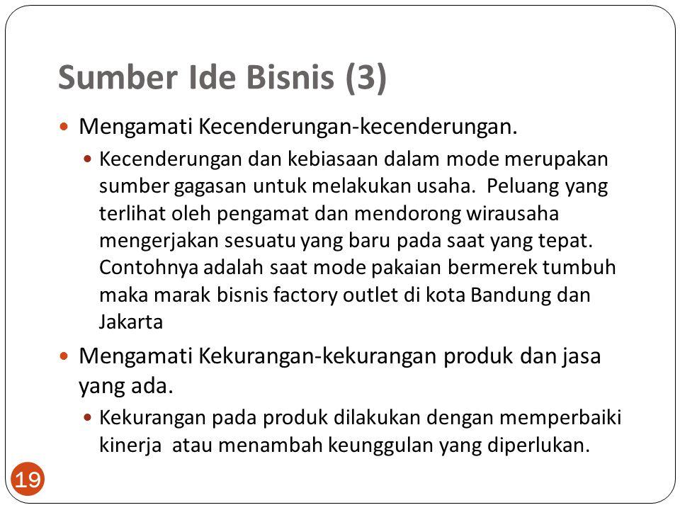 Sumber Ide Bisnis (3) 19 Mengamati Kecenderungan-kecenderungan.