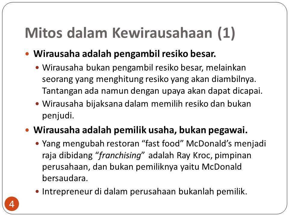 Mitos dalam Kewirausahaan (1) 4 Wirausaha adalah pengambil resiko besar. Wirausaha bukan pengambil resiko besar, melainkan seorang yang menghitung res