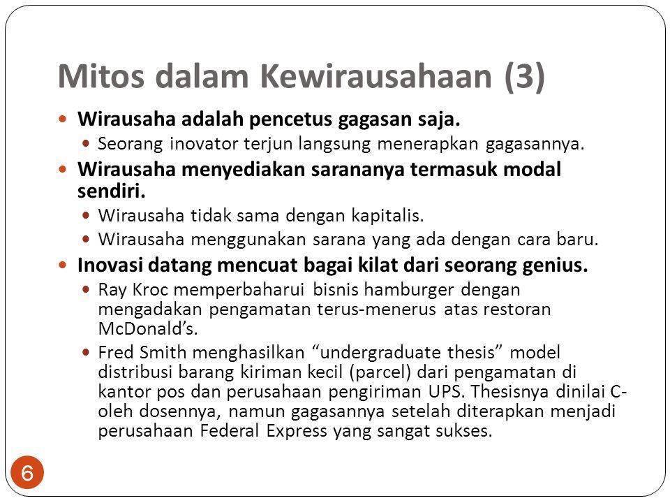 Mitos dalam Kewirausahaan (3) 6 Wirausaha adalah pencetus gagasan saja. Seorang inovator terjun langsung menerapkan gagasannya. Wirausaha menyediakan