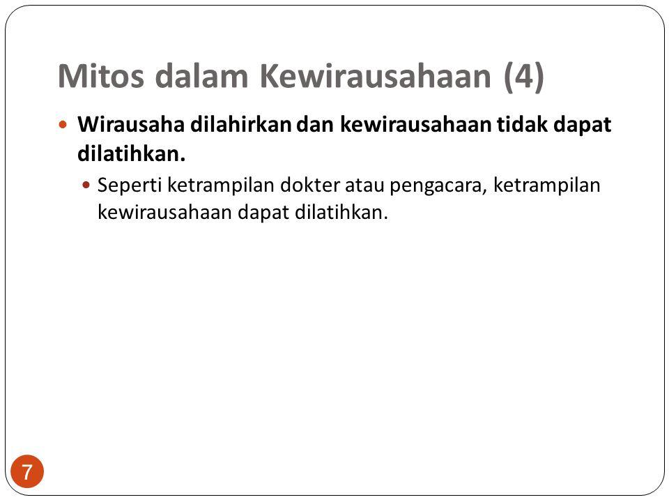 Mitos dalam Kewirausahaan (4) 7 Wirausaha dilahirkan dan kewirausahaan tidak dapat dilatihkan. Seperti ketrampilan dokter atau pengacara, ketrampilan