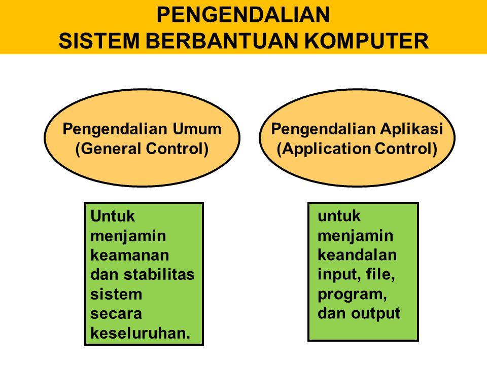 8.File conversion controls, yaitu sistem pengendalian proses konversi file untuk meyakinkan bahwa proses konversi file berjalan secara efektif.