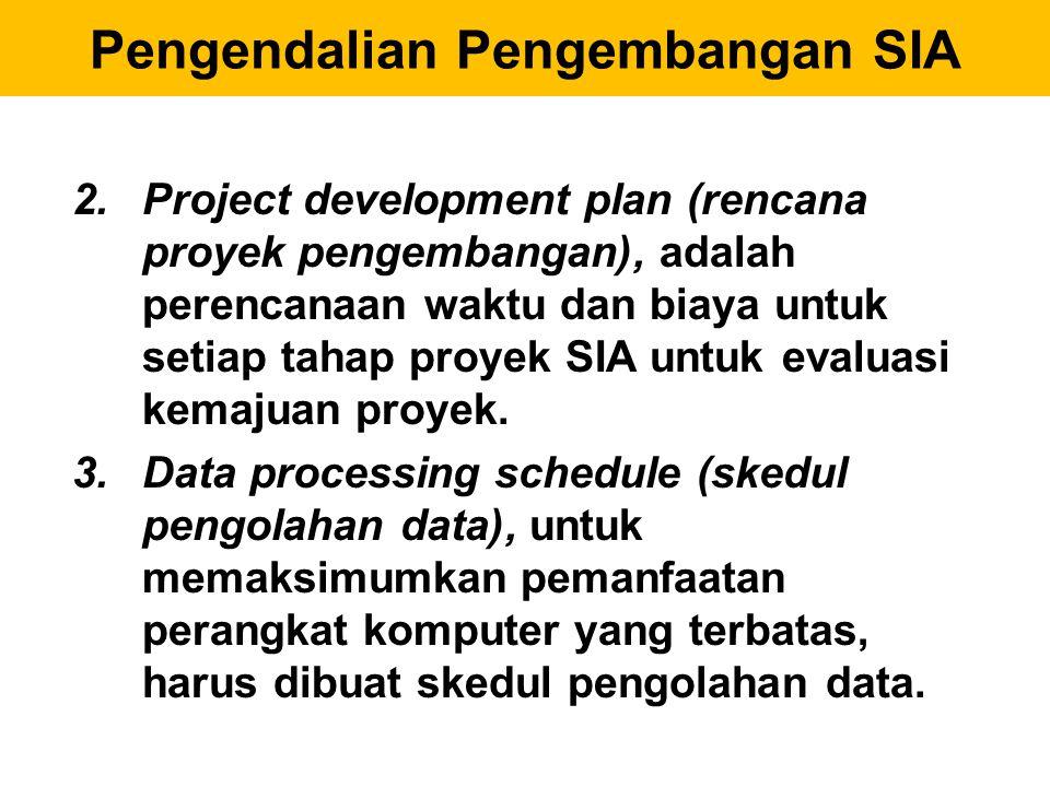 2.Project development plan (rencana proyek pengembangan), adalah perencanaan waktu dan biaya untuk setiap tahap proyek SIA untuk evaluasi kemajuan pro
