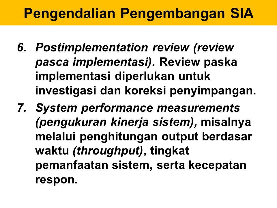 6.Postimplementation review (review pasca implementasi). Review paska implementasi diperlukan untuk investigasi dan koreksi penyimpangan. 7.System per