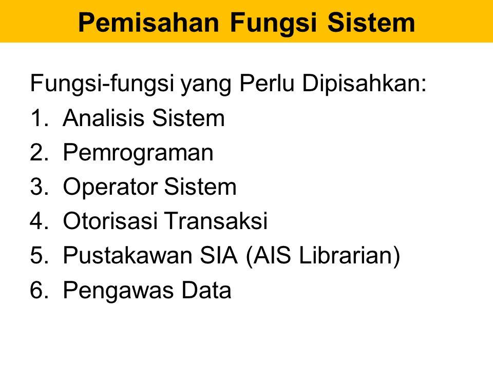 Pemisahan Fungsi Sistem Fungsi-fungsi yang Perlu Dipisahkan: 1.Analisis Sistem 2.Pemrograman 3.Operator Sistem 4.Otorisasi Transaksi 5.Pustakawan SIA