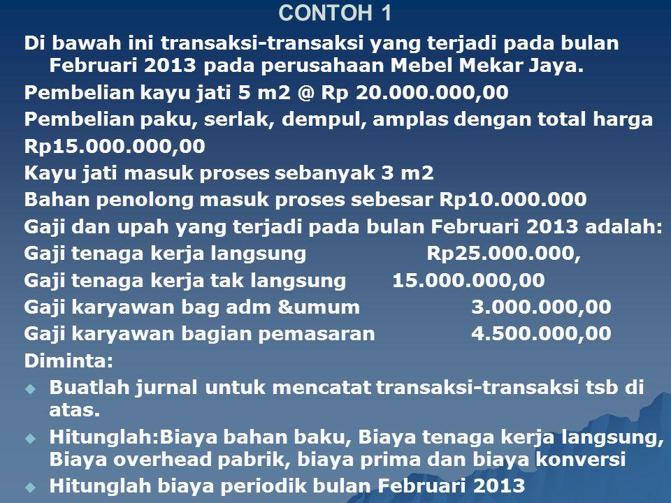 CONTOH 1 Di bawah ini transaksi-transaksi yang terjadi pada bulan Februari 2013 pada perusahaan Mebel Mekar Jaya. Pembelian kayu jati 5 m2 @ Rp 20.000