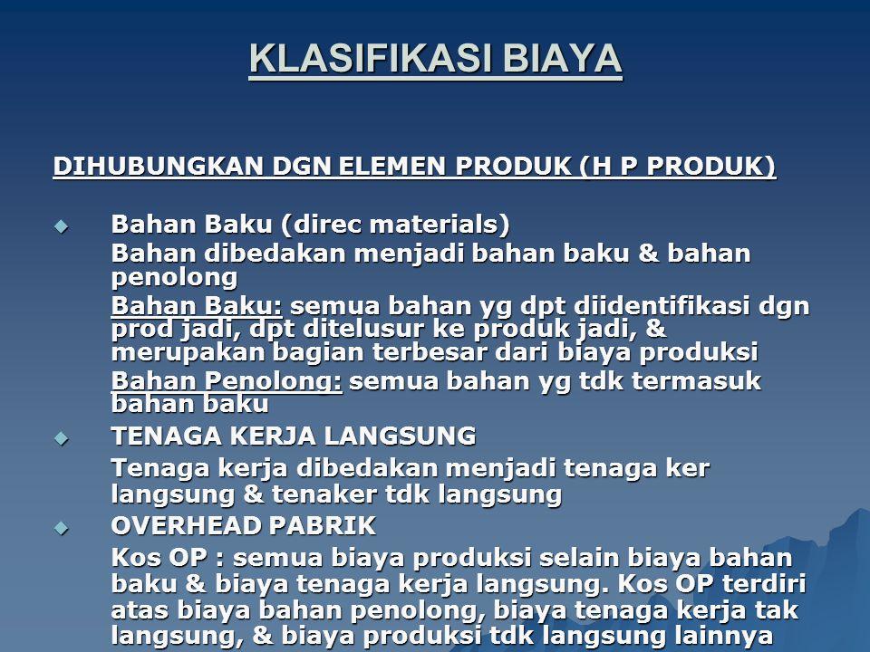 KLASIFIKASI BIAYA DIHUBUNGKAN DGN ELEMEN PRODUK (H P PRODUK)  Bahan Baku (direc materials) Bahan dibedakan menjadi bahan baku & bahan penolong Bahan