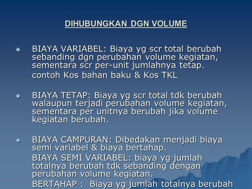 DIHUBUNGKAN DGN VOLUME  BIAYA VARIABEL: Biaya yg scr total berubah sebanding dgn perubahan volume kegiatan, sementara scr per-unit jumlahnya tetap. c