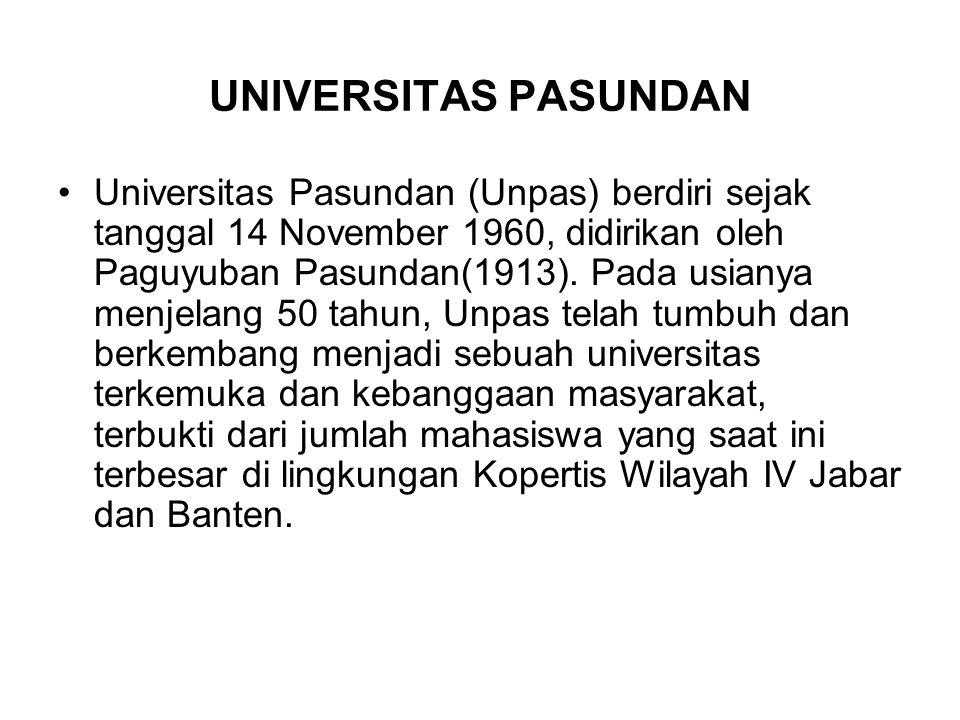 UNIVERSITAS PASUNDAN Universitas Pasundan (Unpas) berdiri sejak tanggal 14 November 1960, didirikan oleh Paguyuban Pasundan(1913). Pada usianya menjel