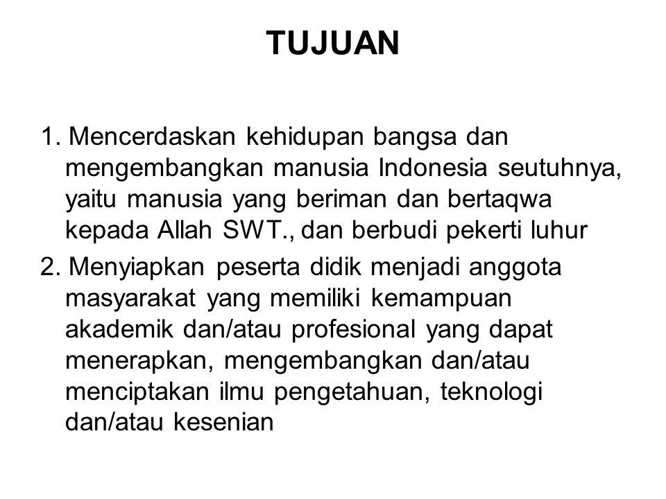 TUJUAN 1. Mencerdaskan kehidupan bangsa dan mengembangkan manusia Indonesia seutuhnya, yaitu manusia yang beriman dan bertaqwa kepada Allah SWT., dan