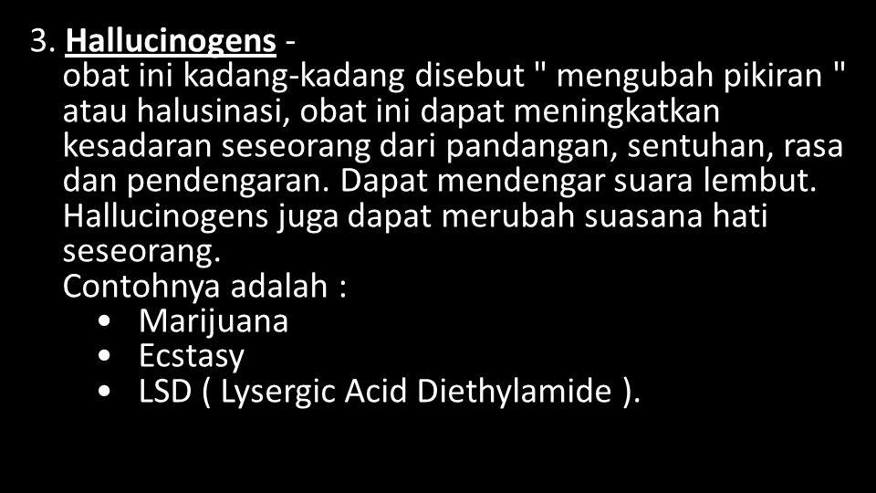 3. Hallucinogens - obat ini kadang-kadang disebut