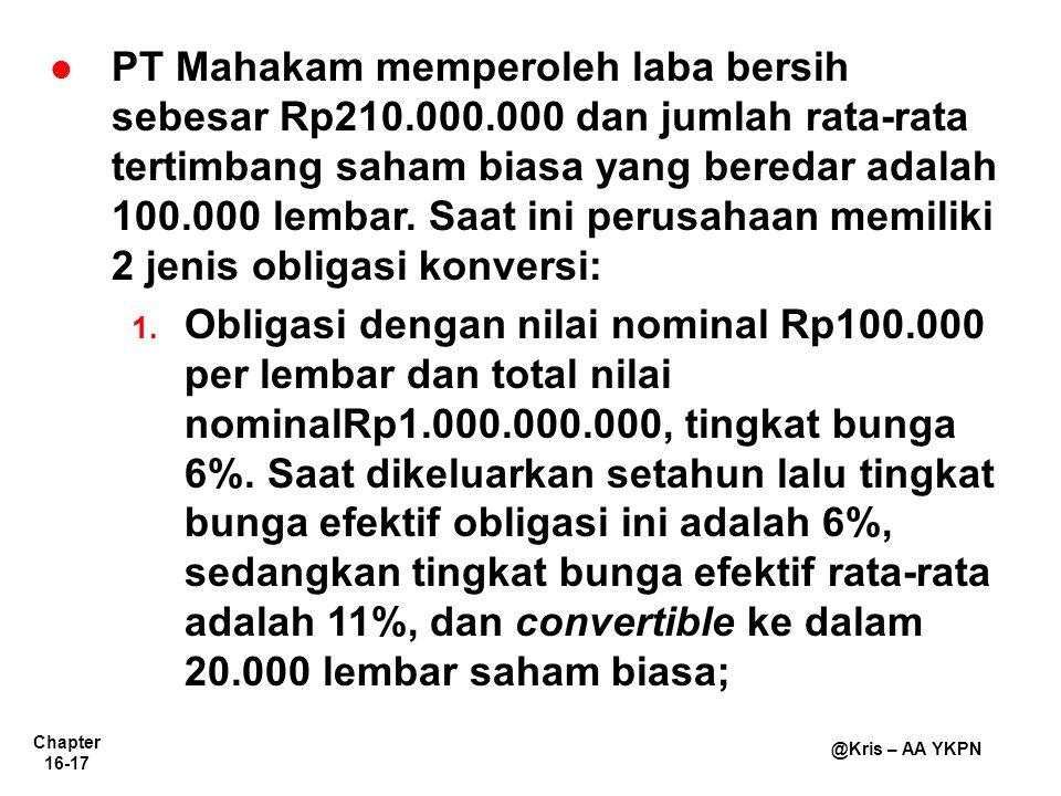 Chapter 16-17 @Kris – AA YKPN PT Mahakam memperoleh laba bersih sebesar Rp210.000.000 dan jumlah rata-rata tertimbang saham biasa yang beredar adalah 100.000 lembar.