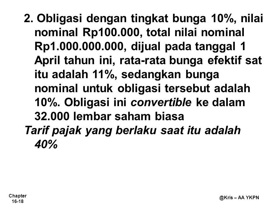 Chapter 16-18 @Kris – AA YKPN 2. Obligasi dengan tingkat bunga 10%, nilai nominal Rp100.000, total nilai nominal Rp1.000.000.000, dijual pada tanggal