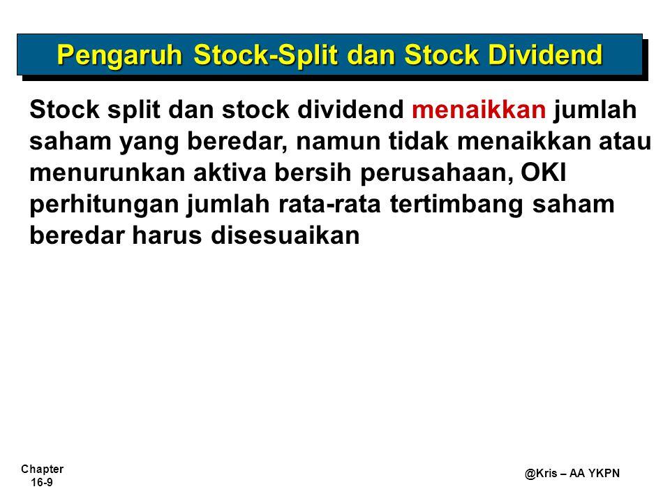 Chapter 16-9 @Kris – AA YKPN Pengaruh Stock-Split dan Stock Dividend Stock split dan stock dividend menaikkan jumlah saham yang beredar, namun tidak menaikkan atau menurunkan aktiva bersih perusahaan, OKI perhitungan jumlah rata-rata tertimbang saham beredar harus disesuaikan