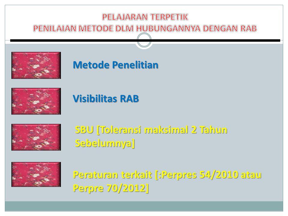 Metode Penelitian Visibilitas RAB Peraturan terkait [:Perpres 54/2010 atau Perpre 70/2012] SBU [Toleransi maksimal 2 Tahun Sebelumnya]