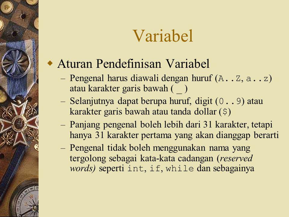 Variabel  Aturan Pendefinisan Variabel – Pengenal harus diawali dengan huruf ( A..Z, a..z ) atau karakter garis bawah ( _ ) – Selanjutnya dapat berup
