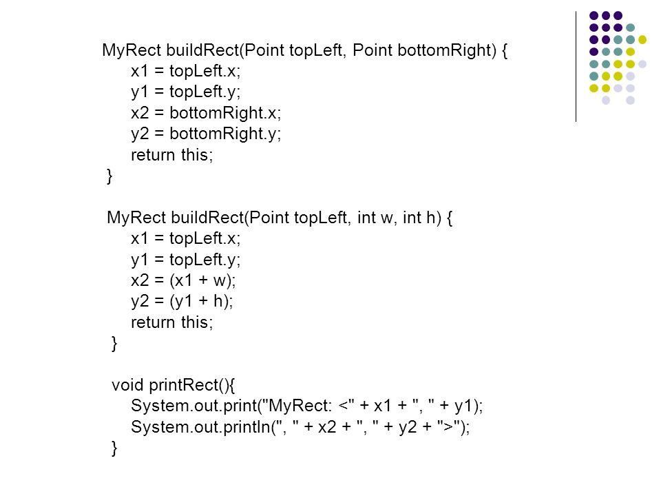 public static void main(String[] arguments) { MyRect rect = new MyRect(); System.out.println( Calling buildRect with coordinates 25,25, 50,50: ); rect.buildRect(25, 25, 50, 50); rect.printRect(); System.out.println( *** ); System.out.println( Calling buildRect with points (10,10), (20,20): ); rect.buildRect(new Point(10,10), new Point(20,20)); rect.printRect(); System.out.println( *** ); System.out.print( Calling buildRect with 1 point (10,10), ); System.out.println( width (50) and height (50): ); rect.buildRect(new Point(10,10), 50, 50); rect.printRect(); System.out.println( *** ); }