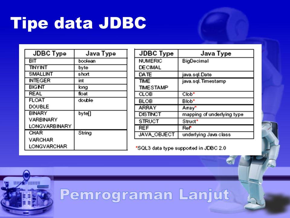 Langkah-langkah menggunakan JDBC Load driver Mendefinisikan koneksi URL Membuat koneksi Membuat obyek statement Mengeksekusi query Memproses result Menutup koneksi