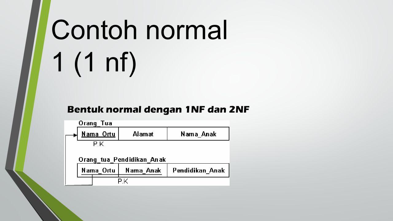 Bentuk normal dengan 1NF dan 2NF Contoh normal 1 (1 nf)