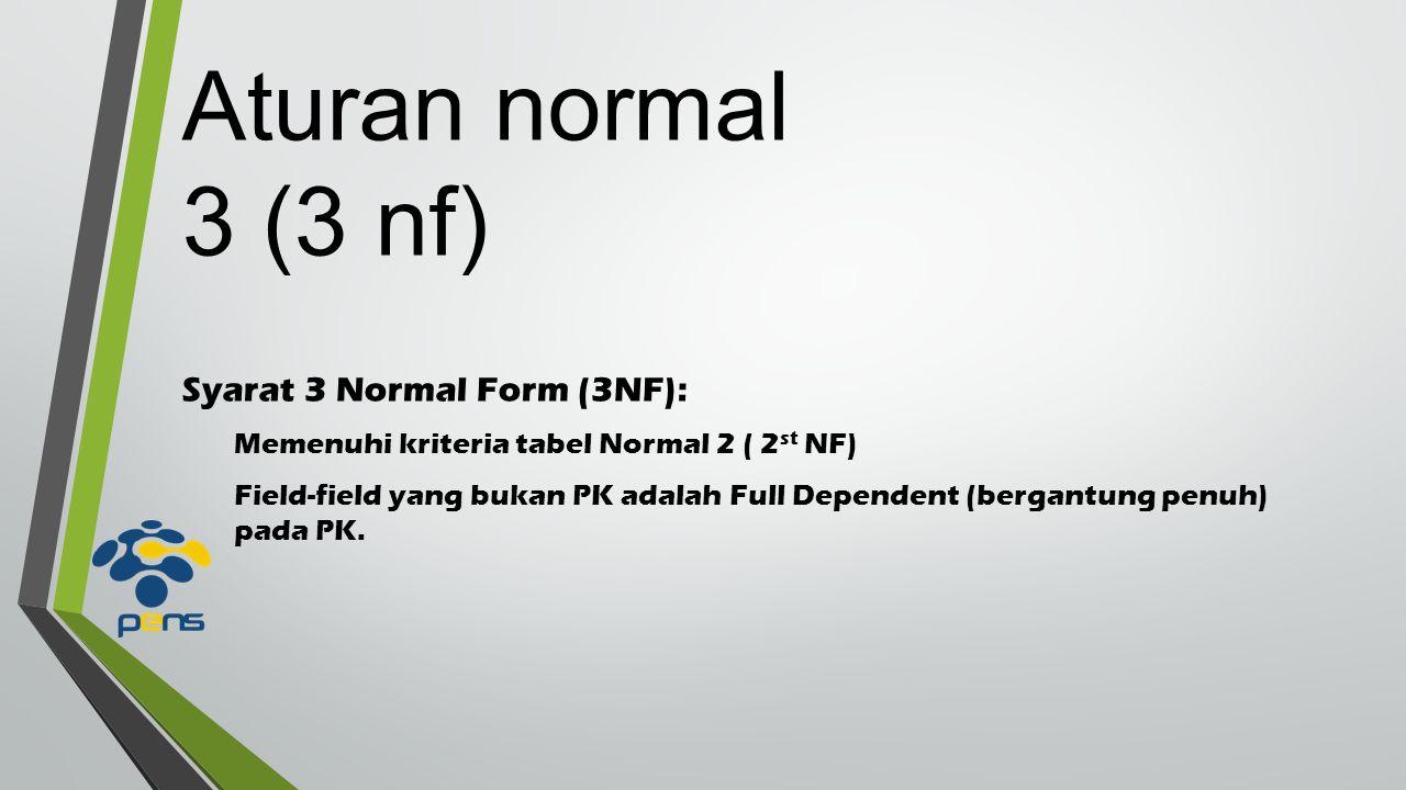 Syarat 3 Normal Form (3NF): Memenuhi kriteria tabel Normal 2 ( 2 st NF) Field-field yang bukan PK adalah Full Dependent (bergantung penuh) pada PK.