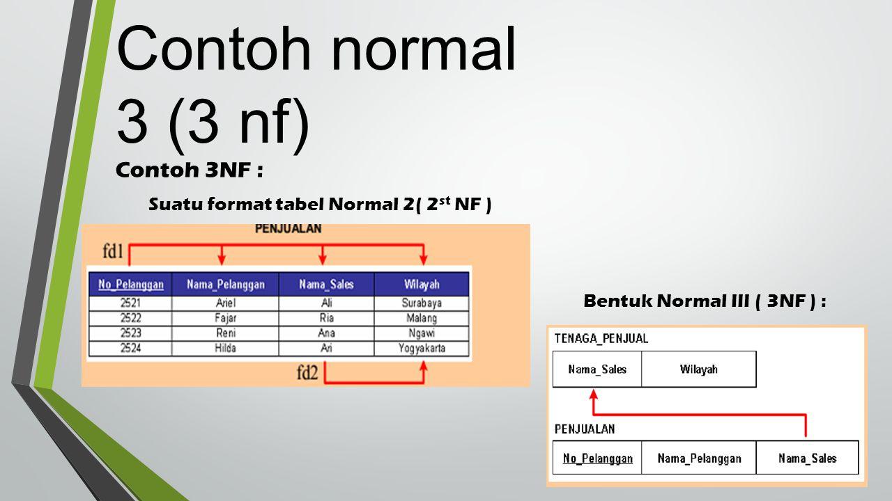 Contoh 3NF : Suatu format tabel Normal 2( 2 st NF ) Bentuk Normal III ( 3NF ) : (Decompose) Contoh normal 3 (3 nf)