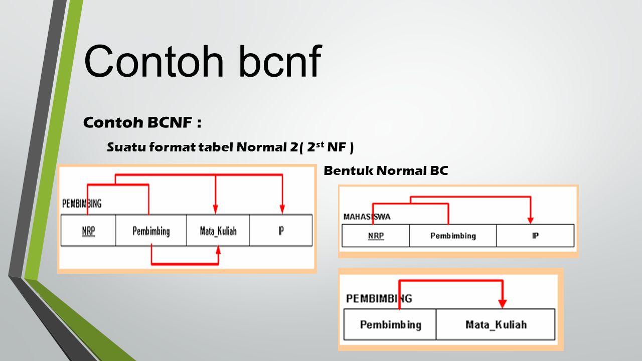 Contoh BCNF : Suatu format tabel Normal 2( 2 st NF ) Bentuk Normal BC Contoh bcnf