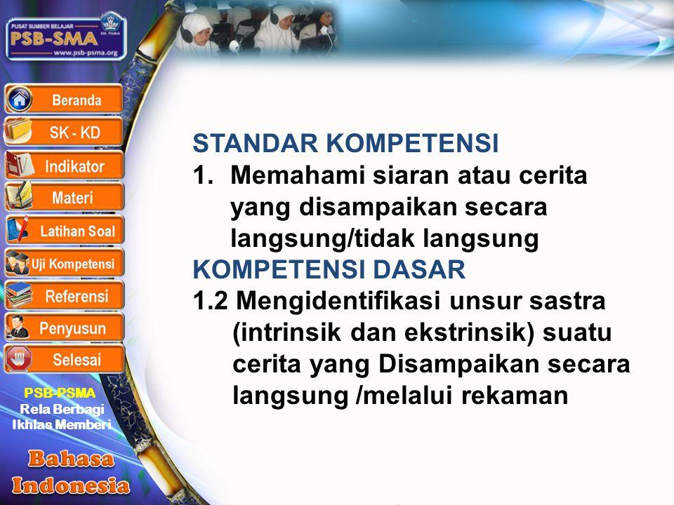 PSB-PSMA Rela Berbagi Ikhlas Memberi STANDAR KOMPETENSI 1.Memahami siaran atau cerita yang disampaikan secara langsung/tidak langsung KOMPETENSI DASAR
